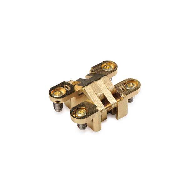 Scharnier / SOSS 204A PB / 13x060 mm / deurdikte ca. 19 mm / verstelbaar / zamac vermessingd