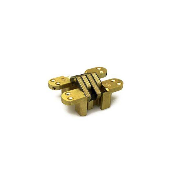 Scharnier / SOSS 208 PB / 16x070 mm / deurdikte ca. 22 mm / zamac vermessingd