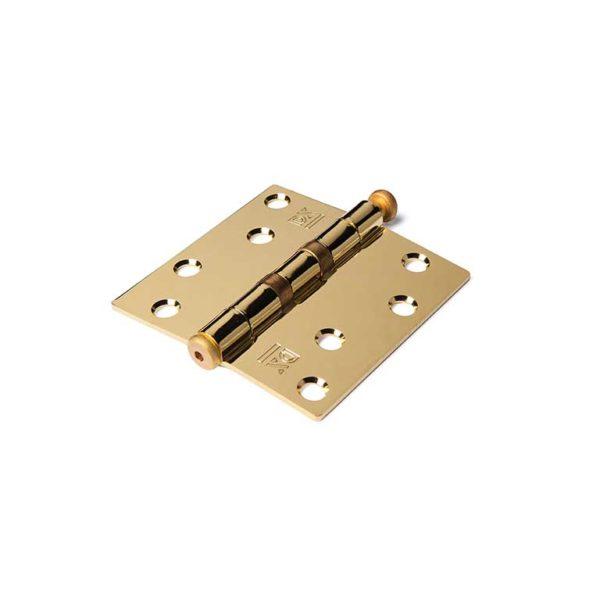 Kogellagerscharnier / rechte hoeken / 89x89 mm / vermessingde pen / staal vermessingd