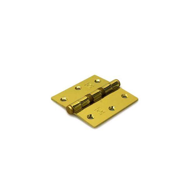 Kogellagerscharnier / rechte hoeken / 76x76 mm / vermessingde pen / staal vermessingd