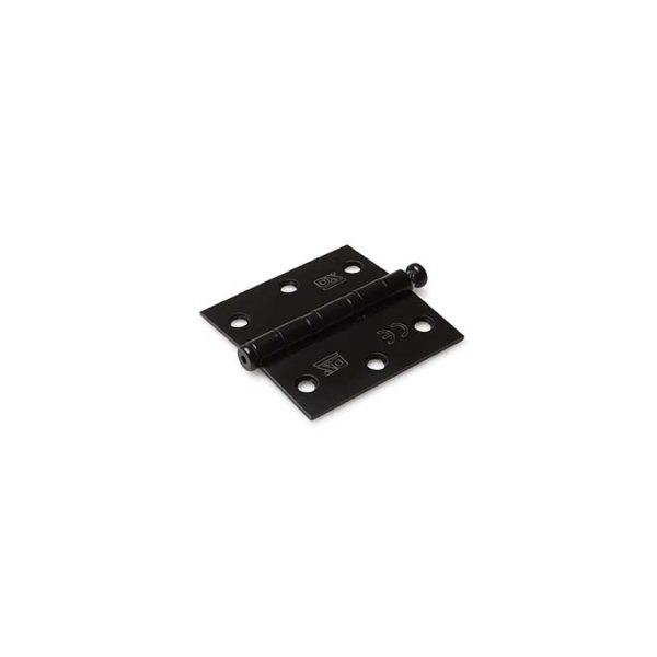 Kogellagerscharnier / rechte hoeken / 76x76 mm / RVS pen / RVS geborsteld zwart
