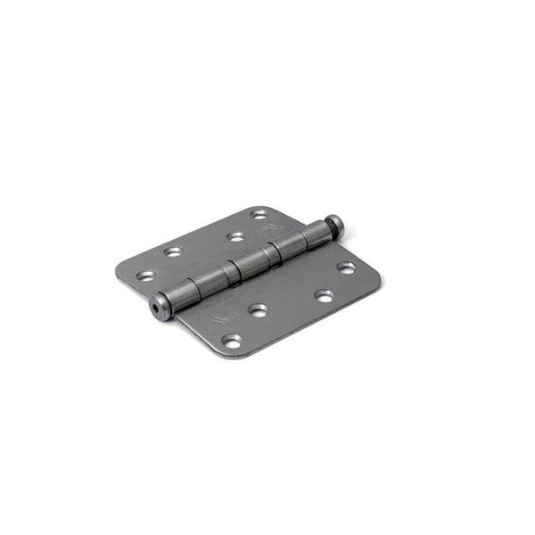 Kogellagerscharnier / ronde hoeken / 89x89 mm / RVS pen / RVS geborsteld