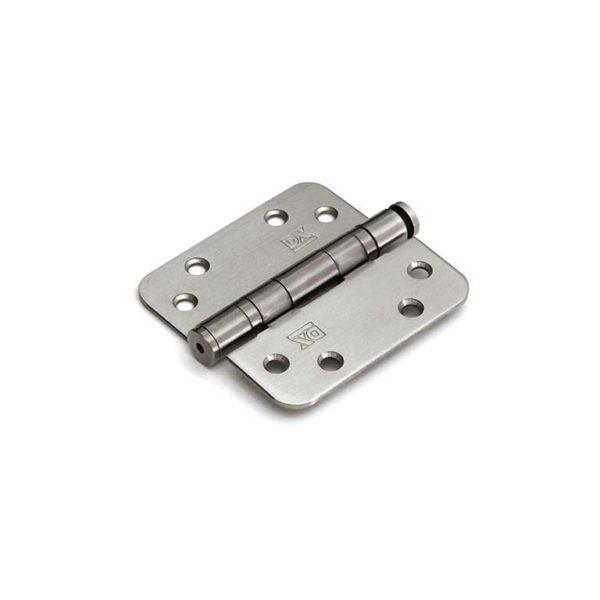 Kogellagerscharnier / 3 mm / doorgezette knoop / ronde hoeken / 89x89 mm / RVS pen / RVS geborsteld / DIN Rechts