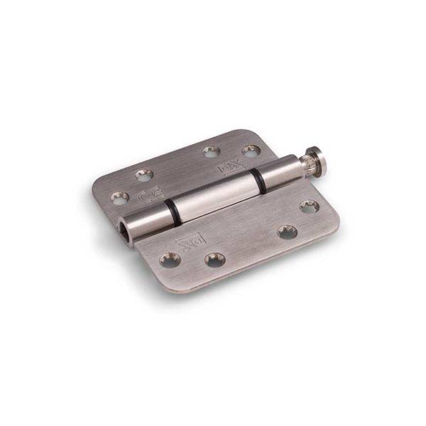 Nylon glijlagerscharnier / 3 mm / doorgezette knoop / ronde hoeken / 89x89 mm / RVS pen / RVS geborsteld